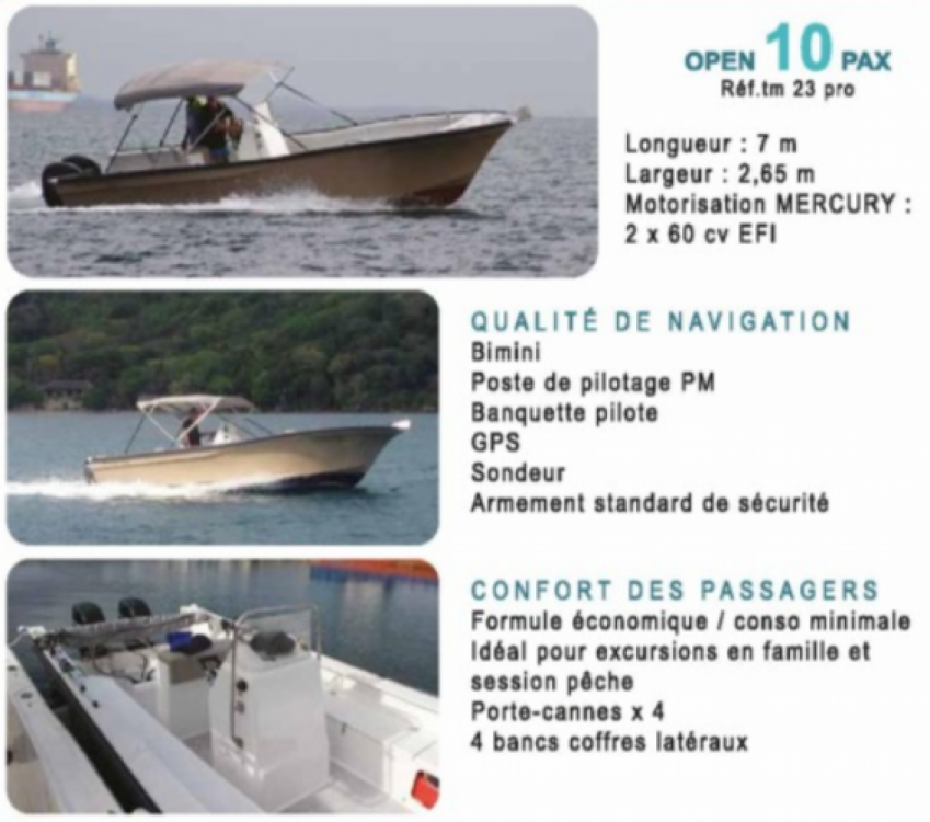 Rental Motor boat TECHMARINE with a permit