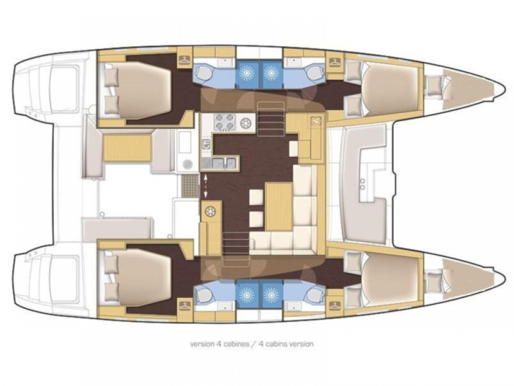 Rent a Lagoon Lagoon 450 Sport Luxury (equipped with A/C, radar, sonar, solar, el. toilets, el. winch, generator, dishwasher etc.) Sukošan