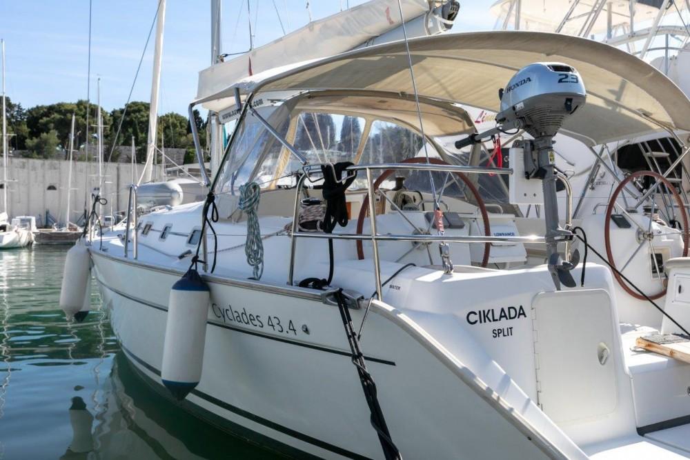 Rent a Bénéteau Cyclades 43.4 (2007) new full batten mainsail and dinghy 2012, bimini 2013, new genoa 2017, new upholstery 2017 Split