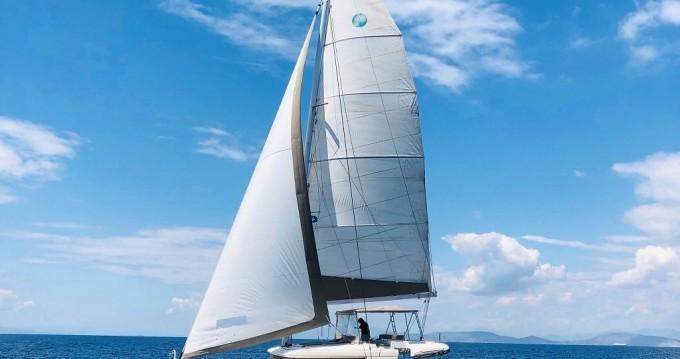 Boat rental Santorini Port cheap Lagoon 450
