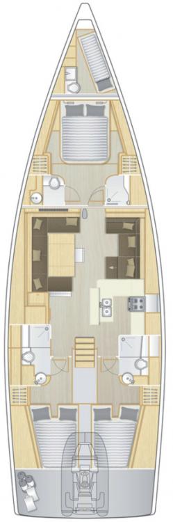 Boat rental South Aegean cheap Hanse 588 - 4 + 1 cab.
