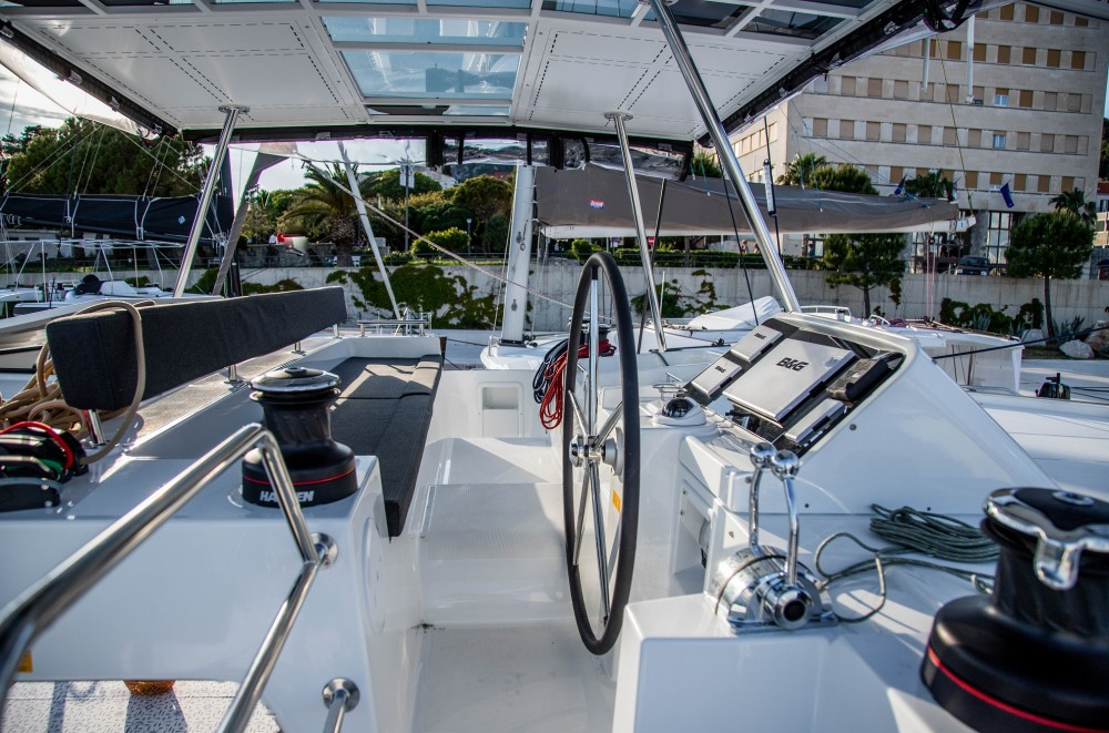 Rent a Lagoon Lagoon 450 F (2019) ANJA equipped with generator, A/C (saloon+cabins), water maker, washer/dryer, dishwasher, microwave oven Slano
