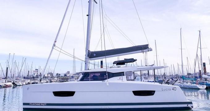 Rental Catamaran in Alimos - Fountaine Pajot Lucia 40 ( INVENTER - SOLAR PANELS )