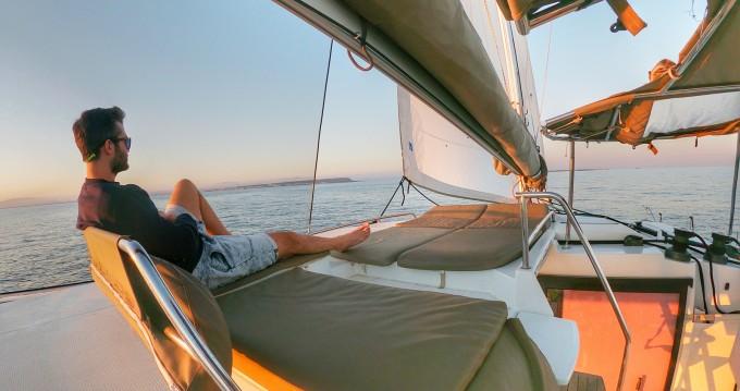 Boat rental San Antonio Port cheap Helia 44
